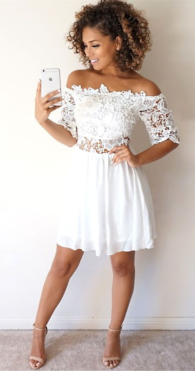 white homecoming dress,lace short prom dresses,off the shoulder party dresses,half sleeve dresses
