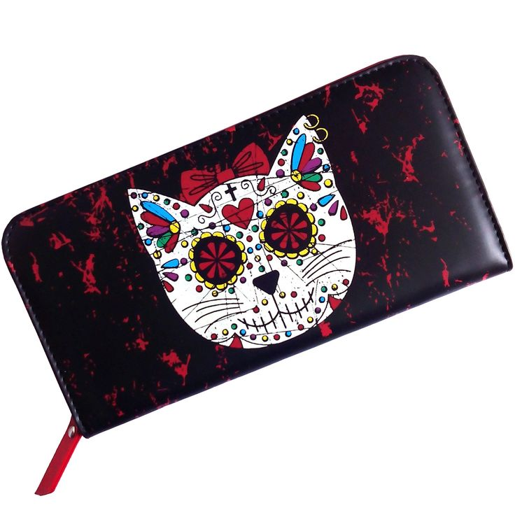 Monedero Gato Calavera Mexicana #banned #sugar #skull #cat #wallet #billetera #tienda #gotica #xtremonline