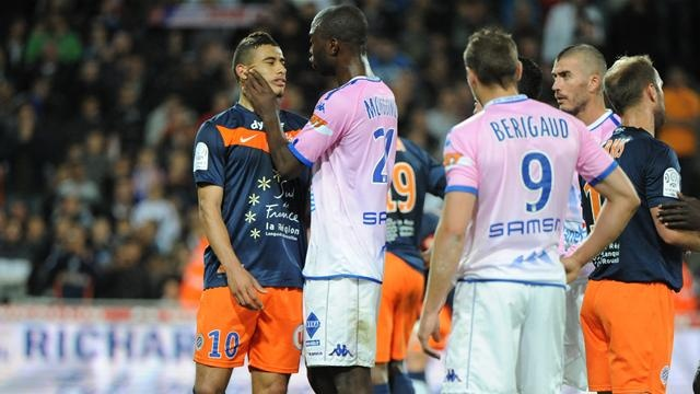 The origins of a fight..  Montpellier - Evian-Thonon Gaillard  French Championship Soccer (Ligue1)