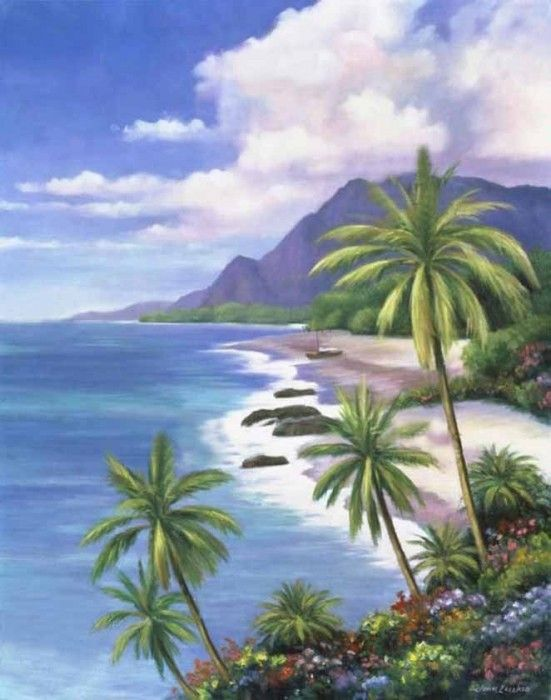 116 best hawaiian art images on pinterest for Beach mural painting