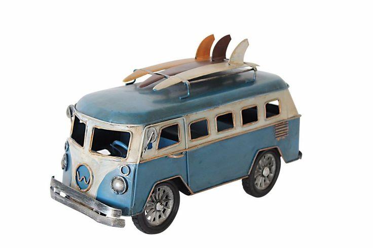 Vintage Blue White Yang's Van Bus Surf Board Props Metal Model