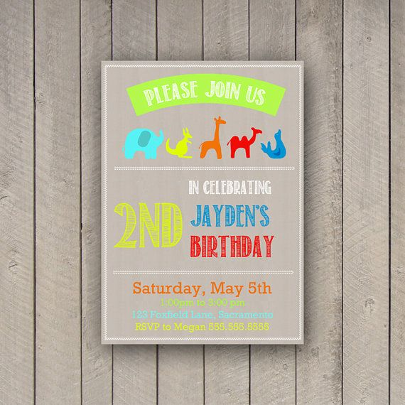 Animal Party Invitation Zoo Party Invite by WhitetailDesigns. Birthday party invite. Kids birthday invitation