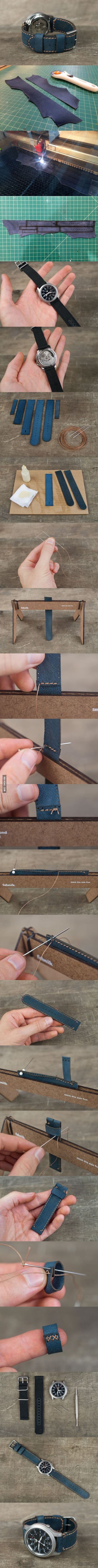 DIY watch strap - hand stitched and laser cut!