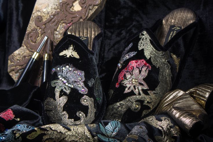 """Eclectic and unisex, the """"Pantuffe"""" are a real must-have for those who want to stand out from the crowd. They are perfect both for day wear or to give an exotic touch to your evening outfit, combined with an elegant dress or kimono."""