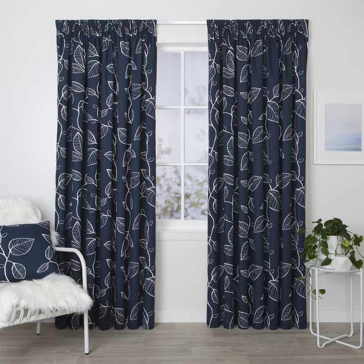 Oslo Navy - Readymade Thermal Pencil Pleat Curtain - Curtain Studio buy curtains online