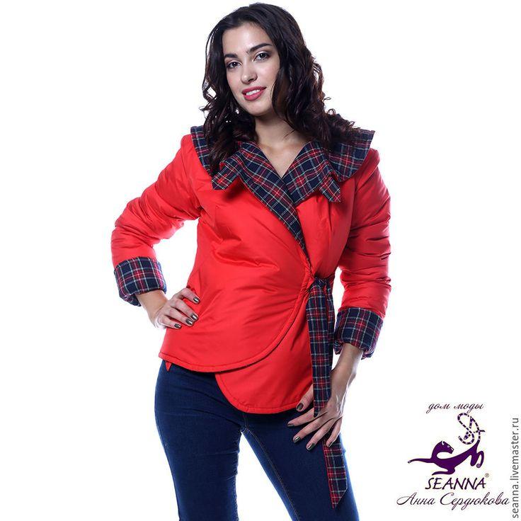 """Купить Куртка утепленная двусторонняя """"Красная Клетка"""" очень красивая - ярко-красный, куртка"""