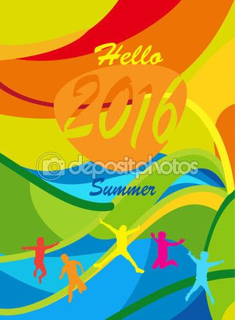 Hello summer 2016 card. Rio 2016 Summer Games Brazil Abstract background. Sport Kids camp Vector illustration — Stock Vector © sofiartmedia.gmail.com #116285336