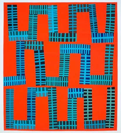 """RIFF #2, ~68"""" X 77"""", by Nancy Crow. Freehand-cut with 100% cottons hand-dyed & machine-pieced improvisationally. Photo by J. Kevin Fitzsimons. 2016 Alegre Retreat Workshop."""