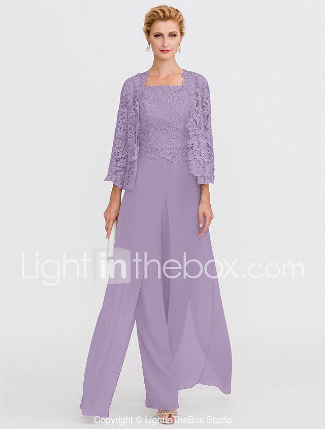 Jumpsuits Pantsuit Straps Floor Length Chiffon Corded Lace