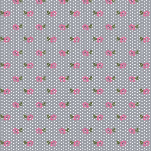 """From the BOLT by Girl Charlee Homestead Life Collection! Sweet repeating pink rose flowers and stems with a white pin dot repeating design on a neutral medium gray background color signature combed cotton spandex knit. Fabric is very soft, 8 - 8.5 ounce light to mid weight, and has a nice 4 way stretch making it suitable for all applications. BOLT fabrics are preshrunk so you can expect less than 5% shrinkage! Flowers and stem measures 5/8"""" (see image for scale). 100% Made in the USA."""