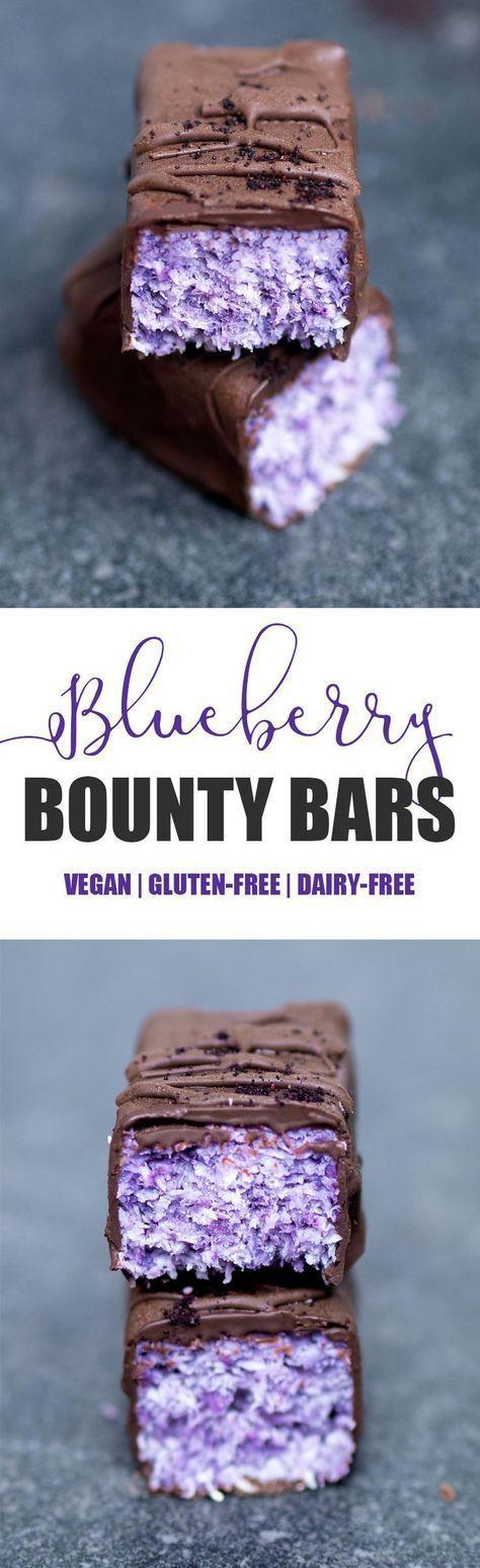 Blueberry Bounty Bars #vegan #glutenfree #blueberry #coconut #bounty #bars #chocolate #candy #healthy #dairyfree #blueberrypowder #treat #snack #dessert #nobake #nutfree #paleo #purple #blue