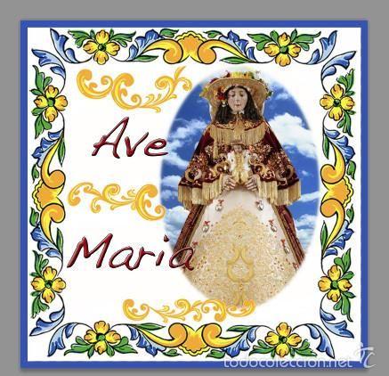 EN VENTA. Azulejo 20x20 Ave maría con la virgen del Rocio vestida de pastora.