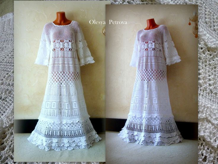 Long Wedding Dress White Lace Maxi Dress with Ruffles Boho chic Woman Bohemian Dresses Bridal Gowns short sleeves Crochet Evening Dress by OLEANDR on Etsy