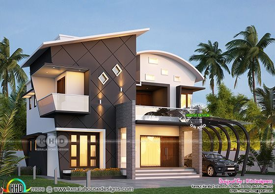 stunning ultra modern 4 bhk kerala house plan modern contemporary rh pinterest com