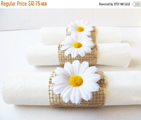 Hey, I found this really awesome Etsy listing at https://www.etsy.com/listing/239243515/on-sale-15-napkin-rings-white-daisies