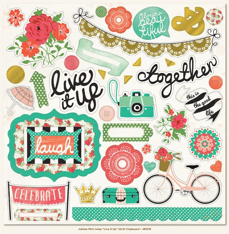 My Mind's Eye - Jubilee Collection - Mint Julep - 12 x 12 Chipboard Stickers - Elements - Live It Up at Scrapbook.com