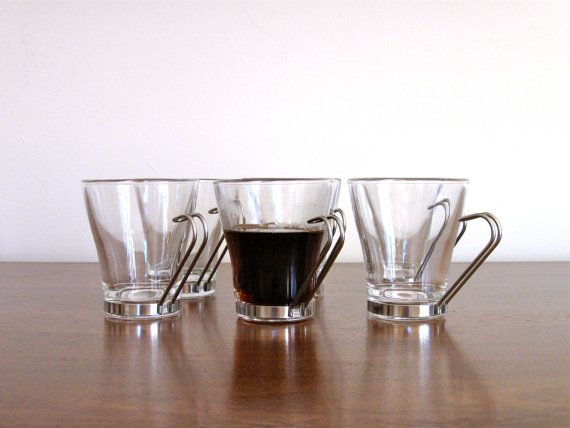 Vitrosax Italy Espresso / Coffee / Tea Glass Cups With Removable Chrome Handles - Set of 6