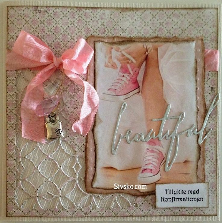 Sivsko.com: Konfirmationskort med Thinlits - Mixed Media og Thinlits - Handwritten Love/beautiful fra Tim Holtz