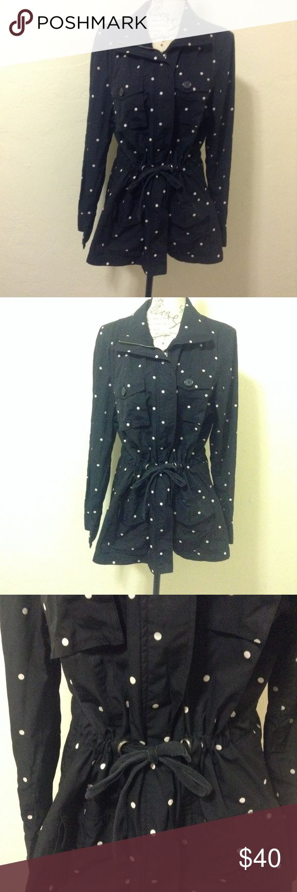Charter Club Polka Dot Jacket Zip up jacket this ties up in the middle. In good used condition! 100% polyester. Bundles and reasonable offers welcome :) Charter Club Jackets & Coats