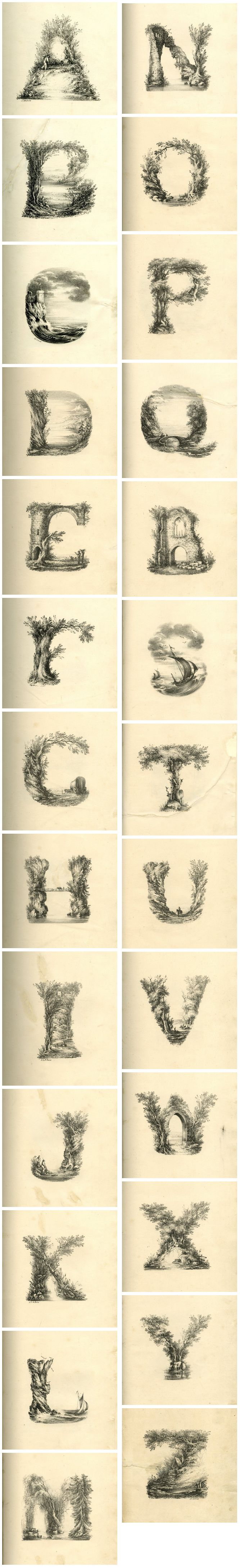 Landscapes Alphabet | 200 years ago, British artist L.E.M. Jones created a beautiful font inspired by nature which he called 'The Landscape Alphabet'  Sensual Calligraphy Scripts ✍ initials, typography styles and calligraphic art - Landscape alphabet, L.E.M. Jones, printed by Charles Joseph Hullmandel  http://www.typetoken.net/theory/the-landscape-alphabet-lithograph/