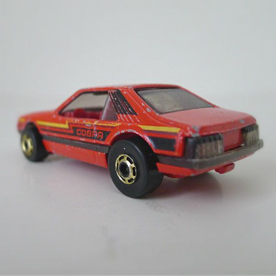 """vintage hot wheels cars collectibles   Vintage Hot Wheels Car, Red """"Cobra"""" Mustang - 80s toy, Mattel, sports ..."""