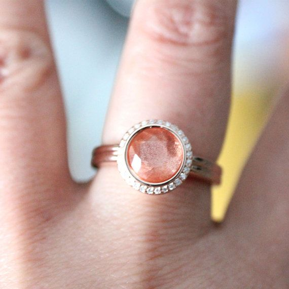 Oregon Sunstone 14K Rose Gold Ring Diamond Ring by louisagallery