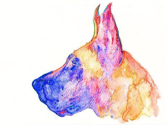 Great Dane Dog watercolor print dog painting wall art Print colorful art Great Dane gift idea Great dane painting Great… #dogs #etsy #art