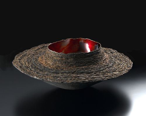 "Fujita Toshiaki Lacquer: Layered Form 1, 2004, Urushi, gold leaf, earth powder, 10"" x 10"" x 10"" (h)   / Keiko Gallery - Japanese artists"