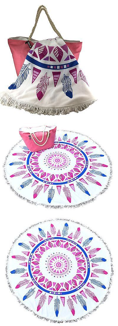 Camping Towels 181398: Large Round Beach Towel Feather Dream-Catcher And Pink Canvas Beach Bag With ... -> BUY IT NOW ONLY: $48.65 on eBay!