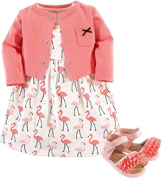 bf1de8852e811 Amazon.com: Hudson Baby Baby Girls' 3 Piece Dress, Cardigan, Shoe ...