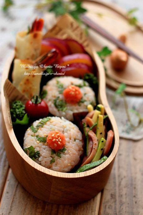 明太大葉おにぎりとパリパリ海老バジル餃子弁当~ママのお弁当~の画像 | 毎日がお弁当日和♪