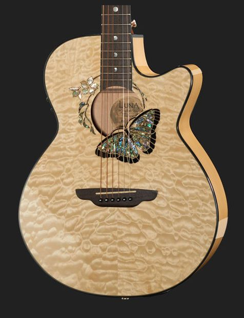 Luna Guitars Fauna Butterfly acoustic steel string guitar, folk, cutaway, Colour: Natural #lunaguitars #guitar #thomann