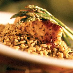 Salmon over wild rice with asparagus - I make this with orange ...