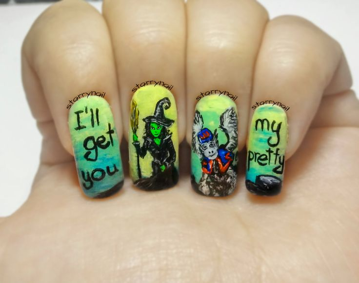 The Wicked Witch Of West Freehand Nail Art Handmade Fake Nails False