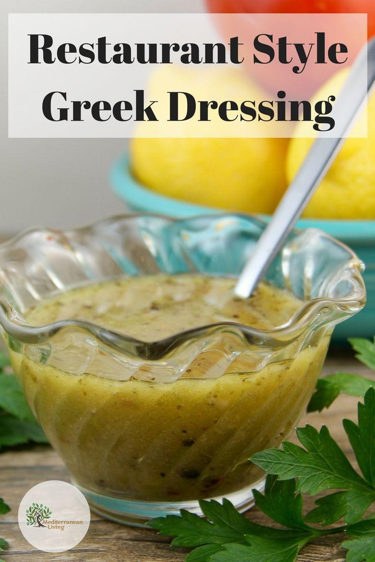 Traditional Greek Restaurant Salad Dressing Mediterranean Living Recipe Salad Dressing Recipes Homemade Greek Salad Dressing Recipe Greek Salad Recipes