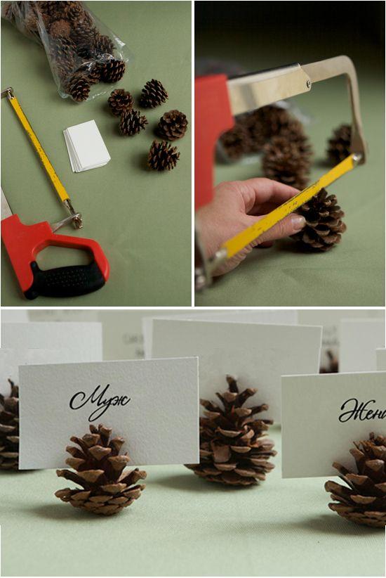 Zimowe winietki z szyszek - DIY