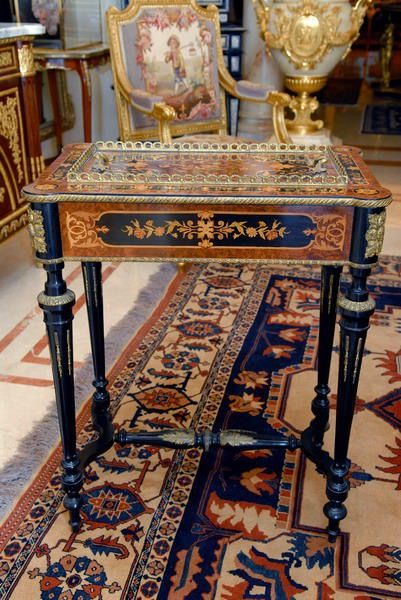 A PAIR OF JARDINIERE TABLES A French Pair of Napoleon III Ebonized and Marquetry Jardiniéres. Circa 1870