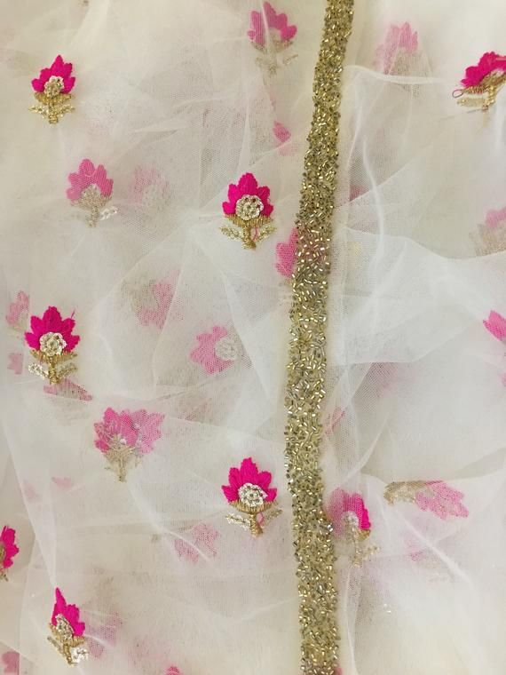 f4c459e61e6ce Off-White/White Soft Net Dupatta with Floral and Sequins Embroidery ...
