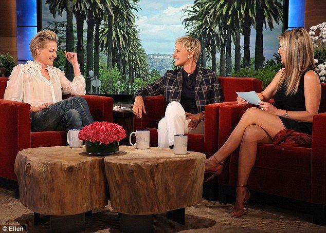 Jenifer Aniston sexy crossed legs on Ellen show.
