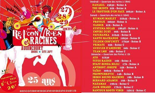 festival Rencontres et Racines. Du 27 au 29 juin 2014 à audincourt.  17H30