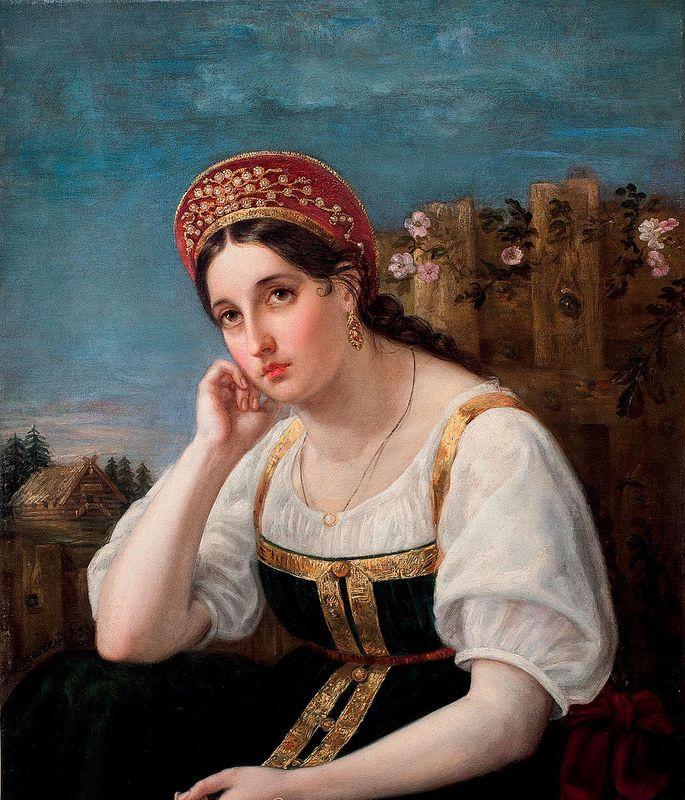 Неизвестный художник «Девушка в русском костюме», 1853 г ...