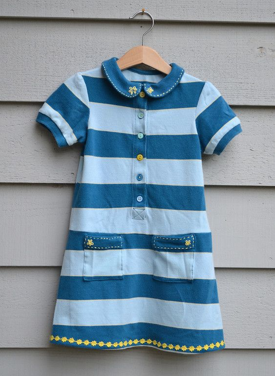 Wow! Adult shirt remade to soft toddler dress. LiEr, guest-blogging at Project Run and Play, shares tutorial, from concepting to embroidery.