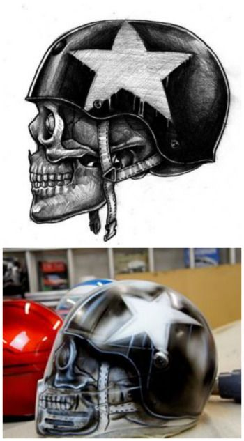 Airbrushed Skull Motorcycle Helmets