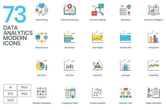 73 Data Analytics Modern Icons Data Analytics Bar Graphs Blog