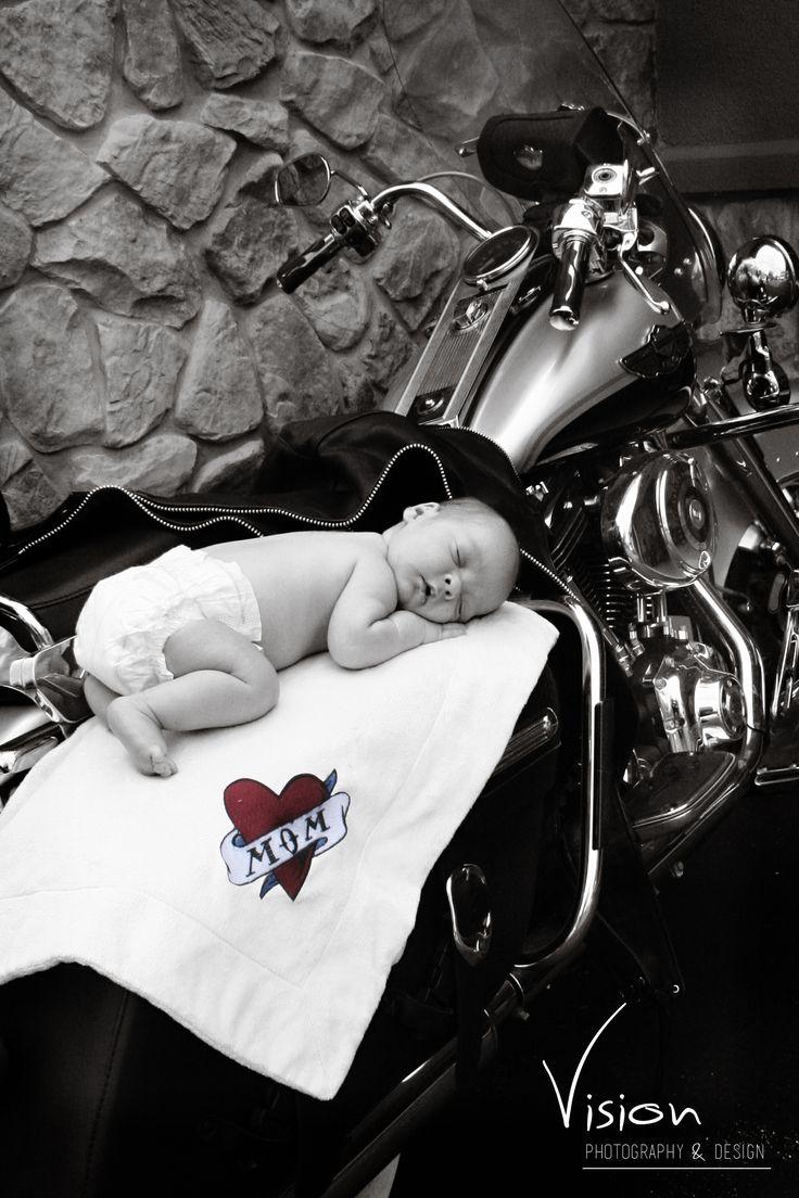 Harley Davidson motorcycle newborn portrait