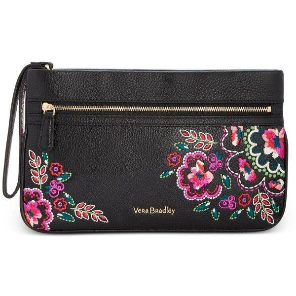 Vera Bradley Mia Wristlet ($158) ❤ liked on Polyvore featuring bags, handbags, clutches, kiev needlecraft, wristlet purse, leather wristlet purse, vera bradley purses, leather wristlet and real leather purses