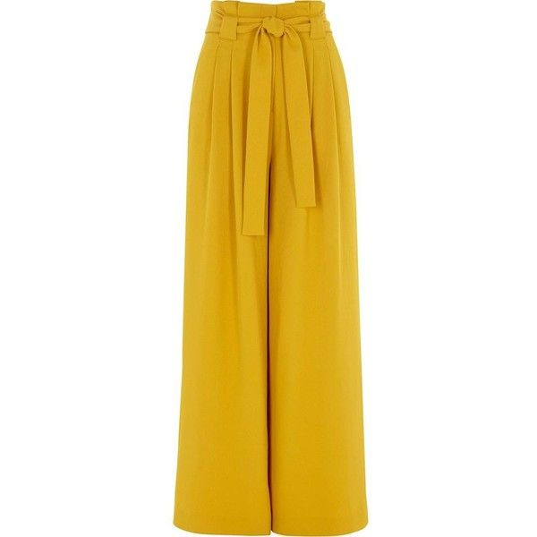 River Island Yellow paper bag waist wide leg pants ($92) ❤ liked on Polyvore featuring pants, wide leg trousers, women, yellow, tie waist trousers, zipper pants, zip pants, woven pants and river island