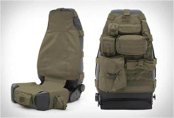 TACTICAL SEAT COVERS | BY SMITTYBILT...These cool tactical seat cover storage systems by Smittybilt are great for carrying and organizing small items in your expedition vehicle. The G.E.A.R. Seat Covers come fully-equipped with plenty of pockets and storage compartments to help you store personal items and save space, while also providing a comfortable and durable seat cover solution.
