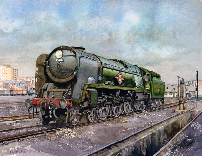 Fine Art Prints of Railway Scenes & Train Portraits - 35017 at Nine Elms by Ray Rawlings