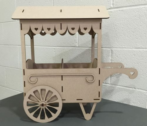 Y34-WEDDING-DAY-SWEET-CANDY-CART-Trolley-Party-Unpainted-MDF-Table-Display-Stand